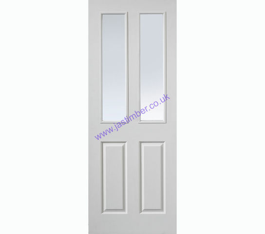 Canterbury FD30 2-light Glazed White Fire Door - JB Kind Doors