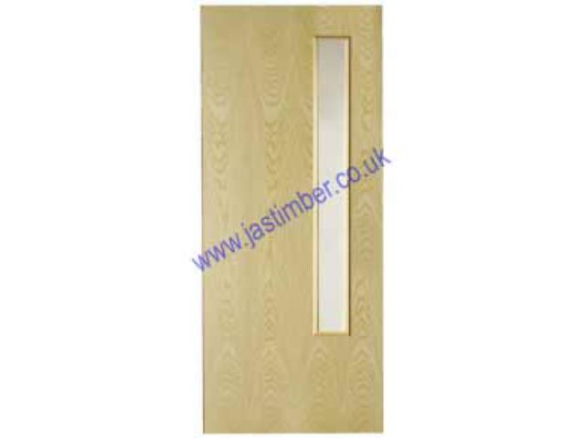 Ash MtM FD60 Fire Door : Made to Measure 54mm Internal 1-Hour Firecheck - Prefinished White-Ash Door-Facings - Select Glazed VP if required