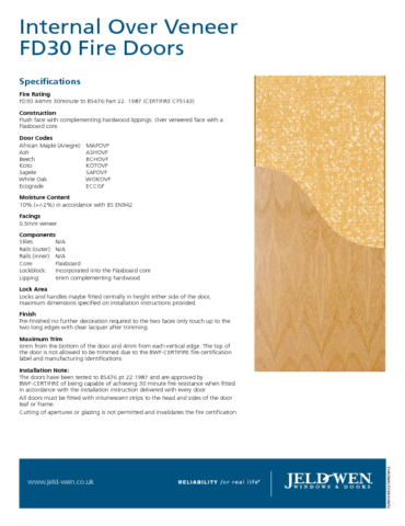 Jeld-Wen® FD30 Over Veneer Fire Door Specification