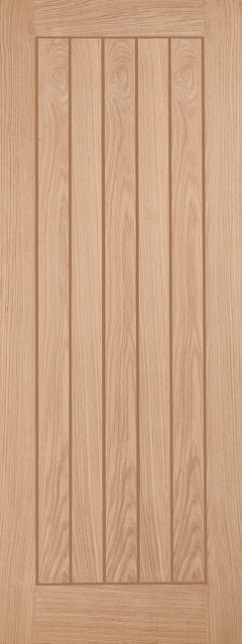 Belize Fire Door: FD30 T&G effect *Unfinished Oak* 44mm Internal Firecheck - LPD Modern Oak Fire Doors