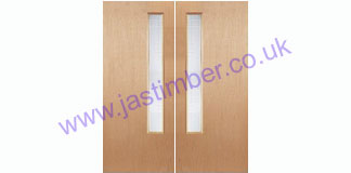 Type-12 Glazed Pair Plywood Made to Measure FD60 Fire Doors