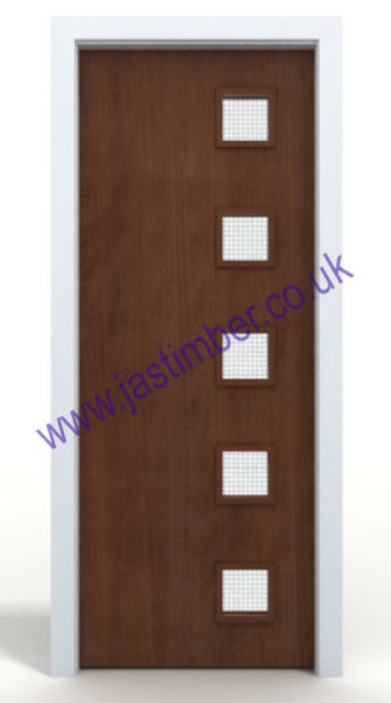 Sapele Glazed VP FD60 Fire Door - One-Hour 54mm Internal Premdor® with Vision Panel - Glazed to Order