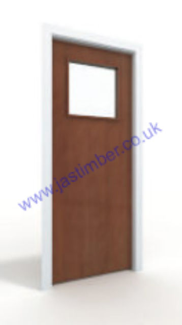 Sapele Glazed VP Fire Door - 44mm Internal Premdor® FD30 with Vision Panel GtO