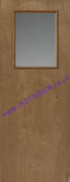 Plywood 1VP Glazed Fire Door: FD30 Georgian-Wire Glass 44mm Flush Internal Firecheck - JB Kind Fire Doors