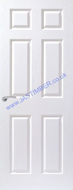Colonist FD60 White-Primed Smooth Fire Door: Firemaster 1-Hour 6-Panel 54mm Internal 60 minute Firecheck - Premdor®