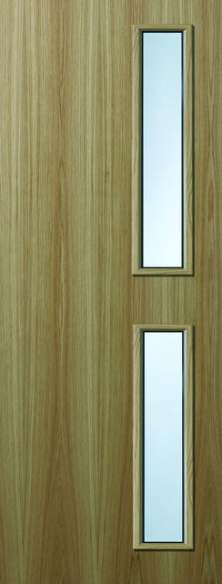 Oak Glazed VP Fire Door - 44mm Internal Premdor FD30 with Vision Panel GtO
