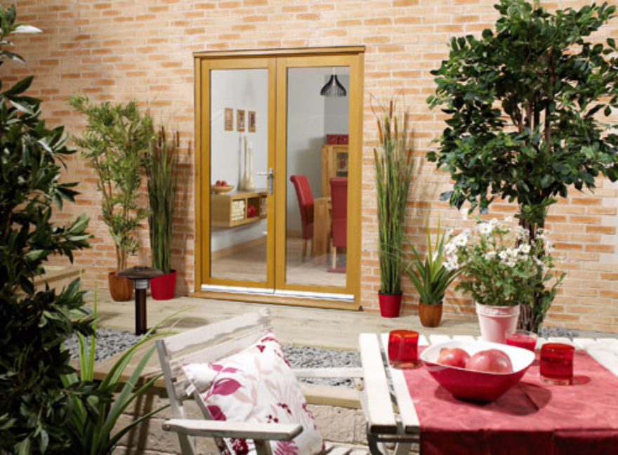 NuV Glazed Oak French Doors