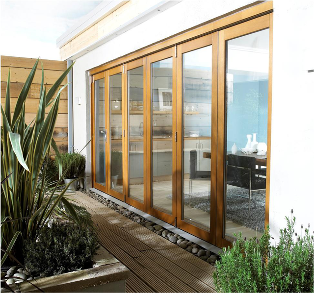 NUVU *Pre-Finished OAK* Folding Patio Doors with Frame - LPD