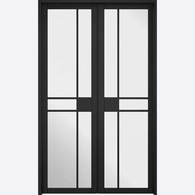 W4 Greenwich *Clear Glazed* Black Primed Room Divider Set - LPD Doors