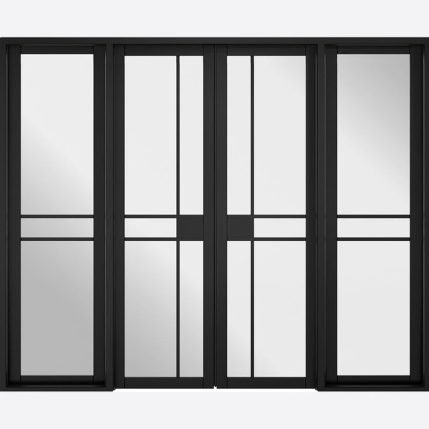 W8 Greenwich Glazed Black Room Divider