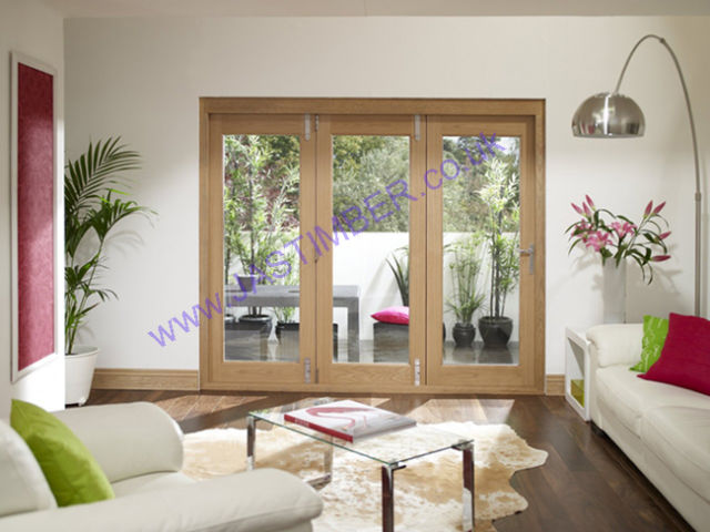 LA PORTE VISTA Oak Pre-finished Folding Patio Doors with Frame - XL Doors