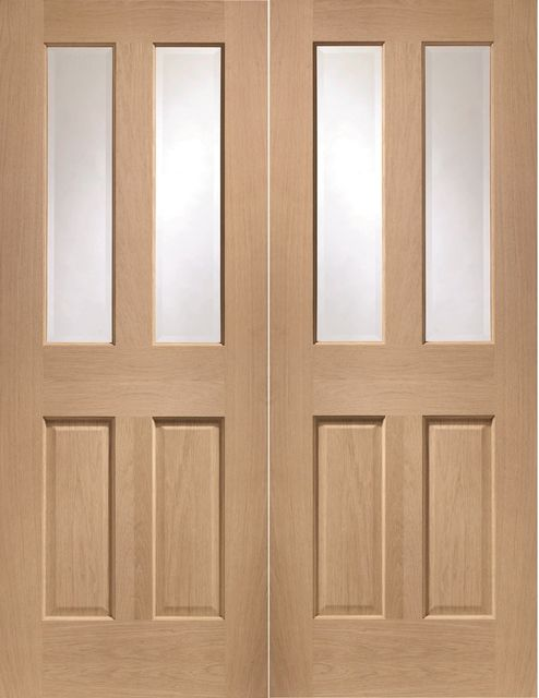 Malton Pair Door: 4-light *Clear Bevelled Glass* *Unfinished Oak* 40mm Internal Pair Door - XL Doors
