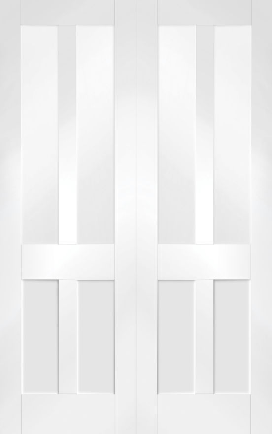 Malton Shaker Glazed White Primed Pair Doors