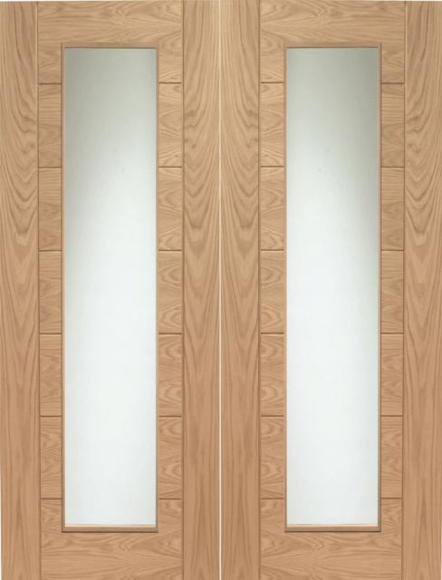 Palermo Pair Door: 2-light *Clear Glass* *Unfinished Oak* 40mm Internal Pair Door - XL Doors