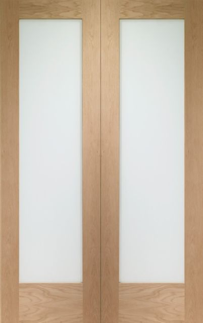 Pattern 10 Pair Door: 2-light *Clear Glass* *Unfinished Oak* 40mm Internal Pair Door - XL Doors