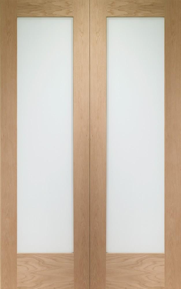 Pattern 10 Obscure Glazed Oak French Pair Doors