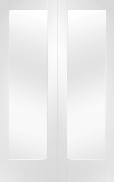 Pattern 10 Pair Door: 2-light *Clear Glass* White Primed 40mm Internal French-Pair Doors - XL Doors