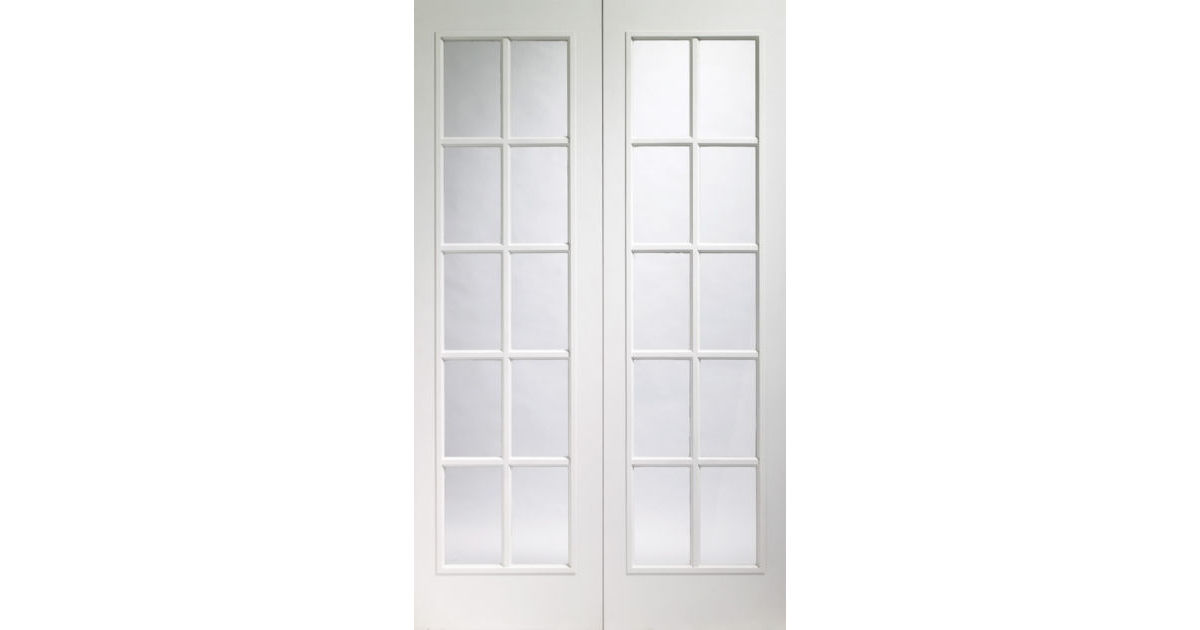 Portobello glazed white moulded pair doors for 1200 french doors