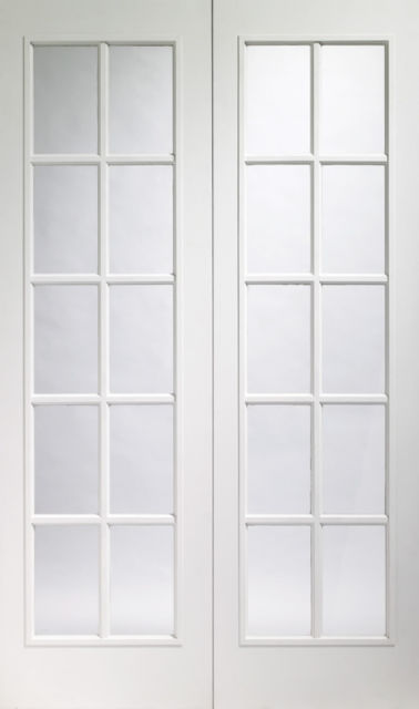"PORTOBELLO PAIR DOOR: 78"" x 5 widths x 1-3/8"" 2 x 10-light *Clear Glass* White Moulded 35mm Internal Door - XL Joinery Doors"