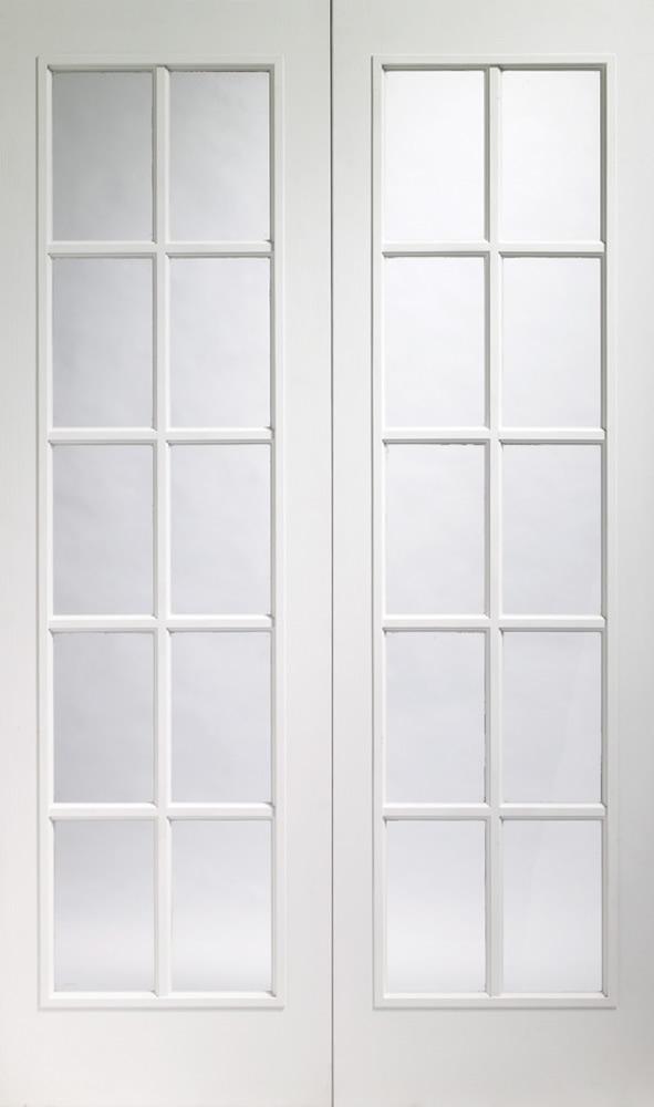 Portobello Pair Door 78\  x 5 widths x 1-3/8\  2 x 10-light *Clear Glass* White Moulded 35mm Internal Door - XL Joinery Doors & Portobello Glazed White Moulded Pair Doors