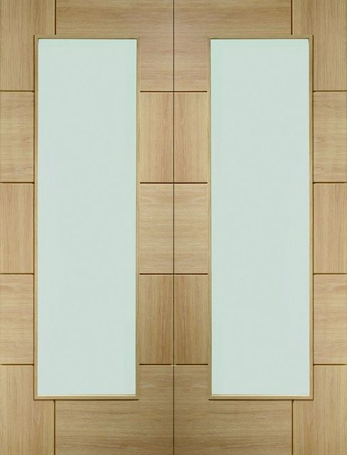 Ravenna Pair Door: 2-Light Clear-Glass unfinished Oak 40mm Internal French Doors - XL Doors