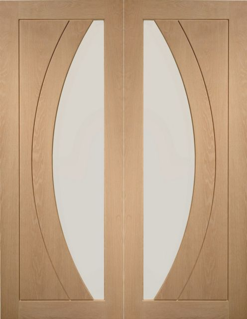 Salerno Pair Door: 2-light *Clear Glass* *Unfinished Oak* 40mm Internal Pair Door - XL Doors