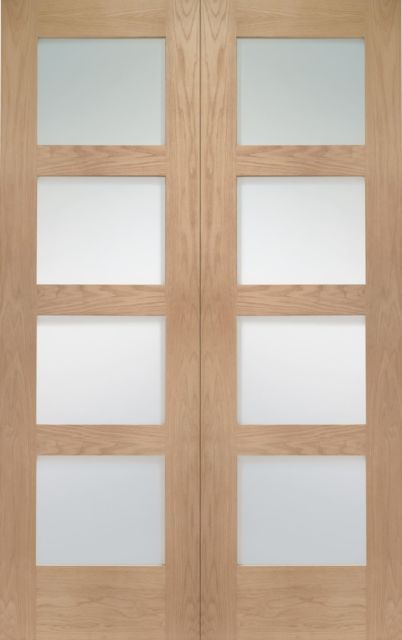 Shaker Pair Door: 8-light *Clear Glass* *Unfinished Oak* 40mm Internal Pair Door - XL Doors