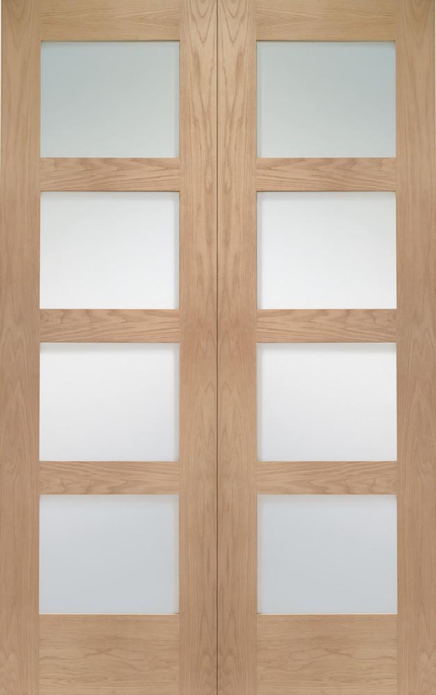 Shaker Clear Glazed Oak French Pair Doors