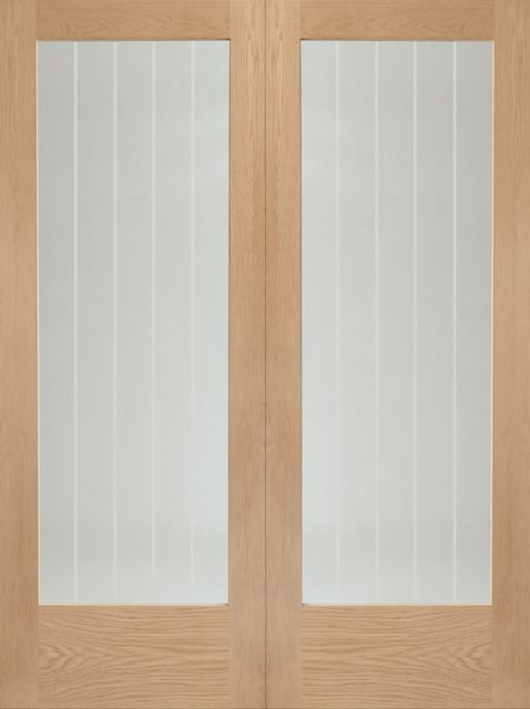 Suffolk Pair Door: 2-light *Clear Etched Glass* *Unfinished Oak* 40mm Internal Pair Door - XL Doors
