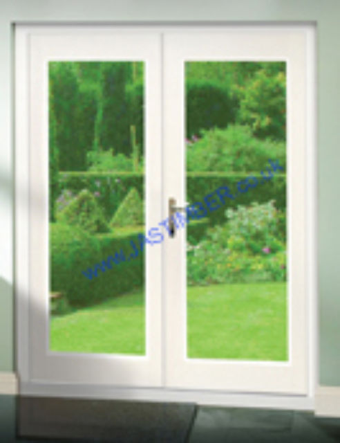 LA PORTE FRENCH DOORS: White Pre-finished 2-light *Glazed* Pattern 20 French Doors with Frame - XL Doors