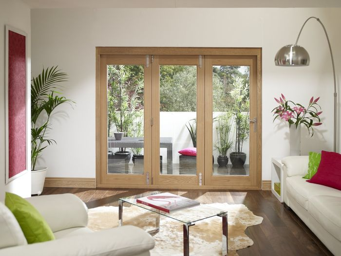 La Porte Vista Folding Oak Doors - interior view / 3 door closed -
