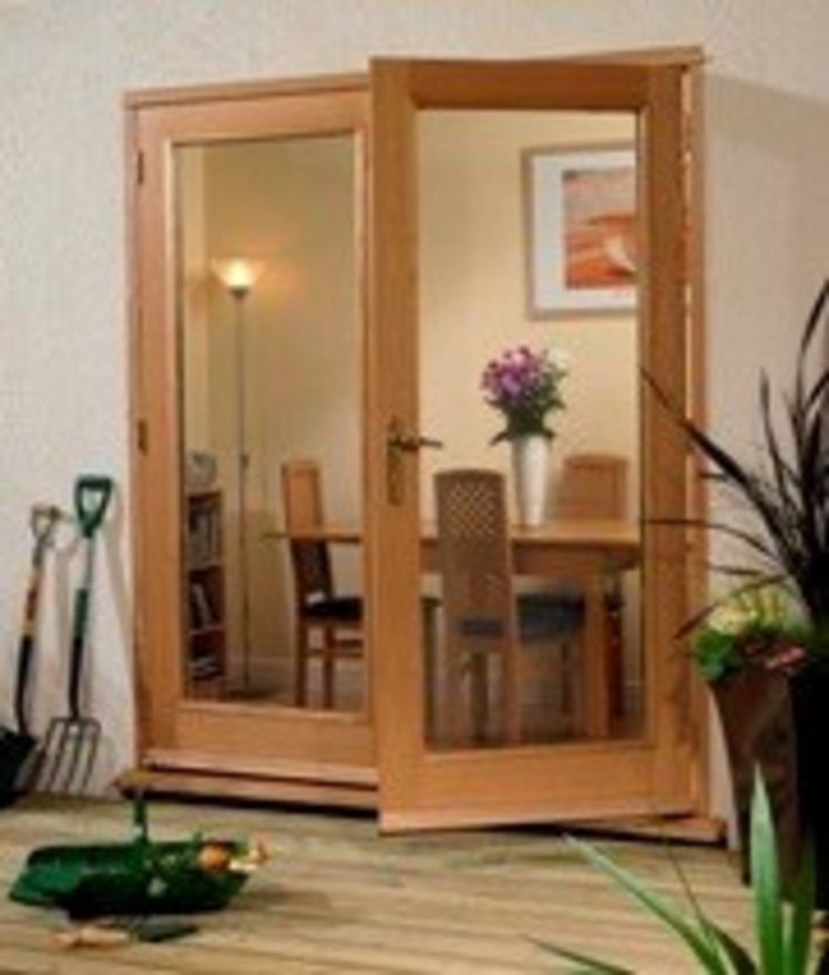 LA PORTE FRENCH DOORS: Pre-Finished Oak 2-light *Glazed* Pattern 20 French Door with Frame - XL Doors