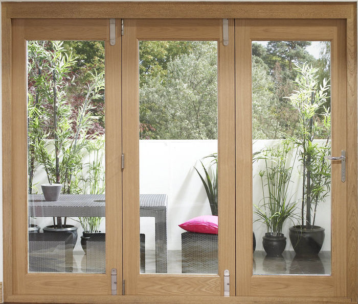 Oak La Porte Vista Folding Doors - 3 door interior view -