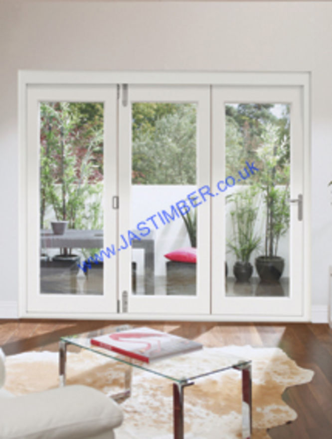 cb6c2cf5408d ... Pre-finished Folding Doors with Frame - XL Doors. White La Porte Vista  External Patio Doors - 3 door int. view