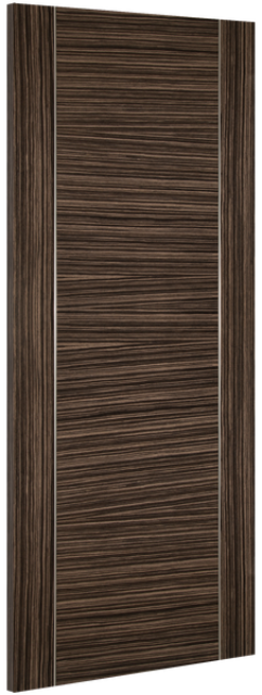 Calgary Door: V-groove Flush *Pre-Finished Abachi Wood* 35mm Internal - Deanta Doors®