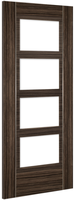 Calgary Glazed Door: 4-light *Clear Bevelled Glass* *Pre-Finished Abachi Wood* 35mm Internal Door - Deanta Doors