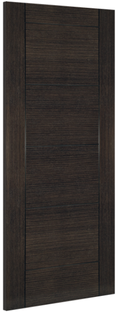 Montreal Fire Door: FD30 V-groove Flush *Pre-Finished Dark Grey Ash* 45mm Internal Firecheck Door - Deanta Doors