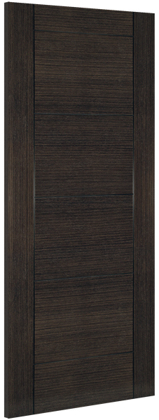 Montreal Door: V-groove Flush *Pre-Finished Dark Grey Ash* 35mm Internal - Deanta Doors®