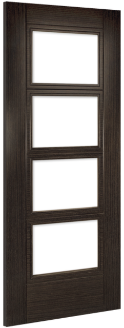 Montreal Glazed Door: 4-light *Clear Bevelled Glass* *Pre-Finished Dark Grey Ash* 35mm Internal Door - Deanta Doors
