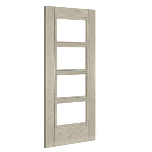Montreal Glazed Door: 4-light *Clear Bevelled Glass* *Pre-Finished Light Grey Ash* 35mm Internal Door - Deanta Doors
