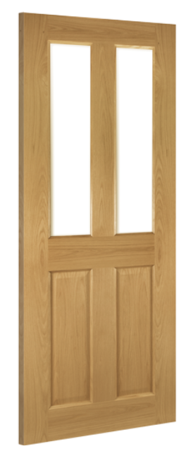 Bury Glazed Door: 2-light *Clear Bevelled Glass* *Pre-Finished Oak* Internal 35mm - Deanta Doors®