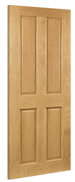 Bury Fire Door: FD30 4-Panel *Pre-Finished Oak* 45mm Internal Firecheck - Deanta Fire Doors®