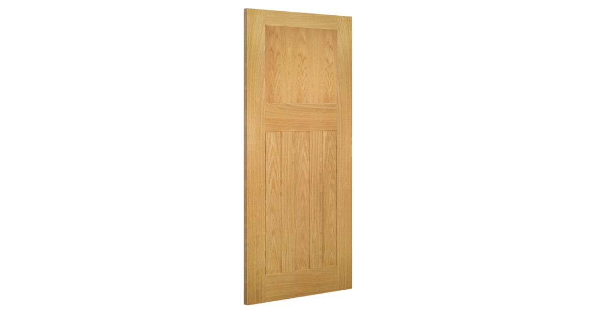 Cambridge Fire Door: FD30 4-Panel *Unfinished Oak* 45mm Internal Firecheck - Deanta Doors