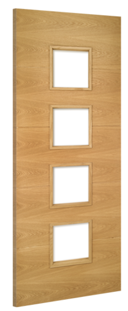 Augusta 4-L Unglazed Fire Door: FD30 4-Light *To Glaze* *Pre-Finished Oak* 45mm Internal Firecheck - Deanta Doors