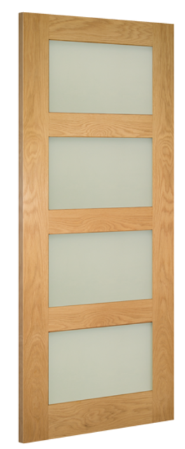 COVENTRY GLAZED DOOR: 4-light *Clear Toughened Glass* *Pre-Finished OAK* 35mm Internal Door - Deanta Doors
