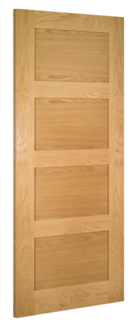 Coventry Fire Door: FD30 4-Panel *Unfinished Oak* 45mm Internal Firecheck Door - Deanta Doors