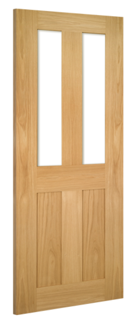 ETON GLAZED DOOR: 2-light *Clear Toughened Glass* *Unfinished OAK* 35mm Internal Door - Deanta Doors
