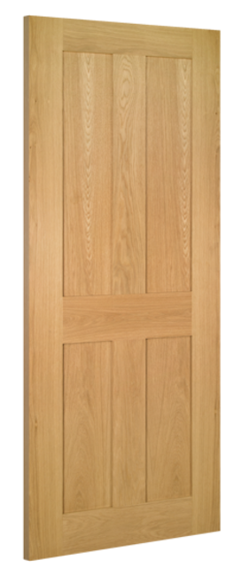 Eton Fire Door: FD30 4-Panel *Unfinished Oak* 45mm Internal Firecheck - Deanta Doors