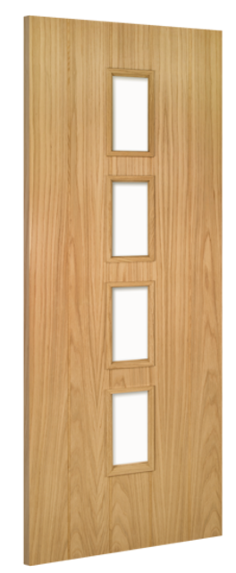 Galway Unglazed Fire Door: FD30 4-light *Unglazed* *Unfinished Oak* 45mm Internal Fire Door - Deanta Doors