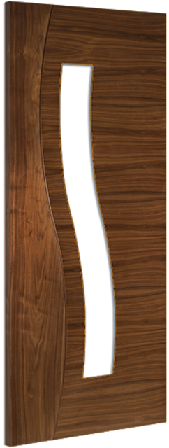 Cadiz 1L Clear PF Walnut Door: 1-Light Glazed Pre-Finished Veneer solid-core 35mm Int. - Deanta